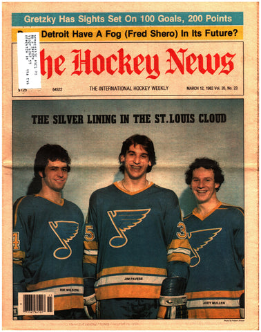 March 12, 1982 The Hockey News Volume 35 No. 23 Issue Joe Mullen Wayne Gretzky Mark Messier