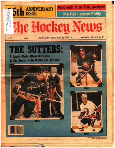 September 1982 The Hockey News Volume 35 No. 37 Issue The Sutters Wayne Gretzky Mark Howe