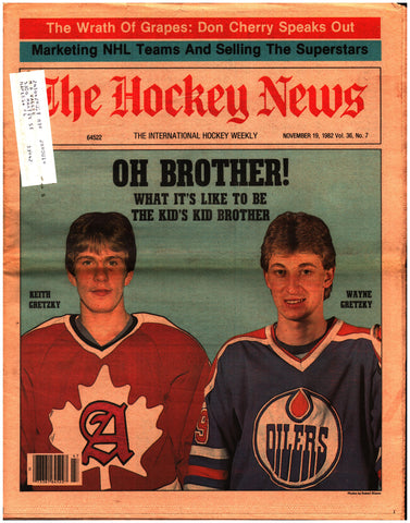 November 19, 1982 The Hockey News Volume 36 No. 7 Wayne Gretzky Don Cherry Mike Palmateer