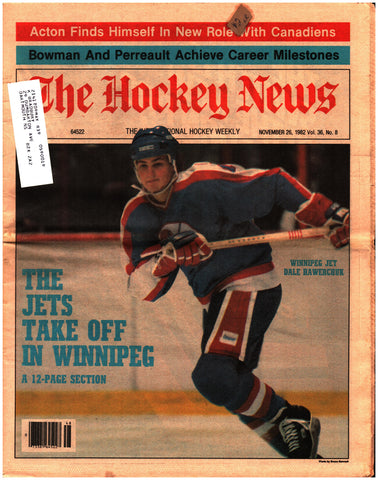 November 26, 1982 The Hockey News Volume 36 No. 8 Winnipeg Jets Dale Hawerchuk Gilbert Perreault