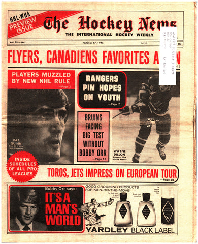 October 17, 1975 The Hockey News Issue Volume 29 No. 1 New York Rangers NHL WHA Preview Pat Quinn