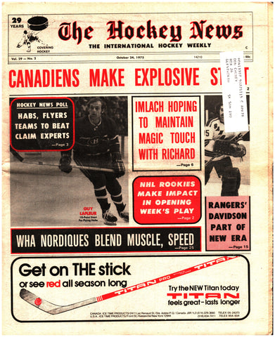 October 24, 1975 The Hockey News Issue Volume 29 No. 2 Guy Lafleur John Davidson Quebec Nordiques
