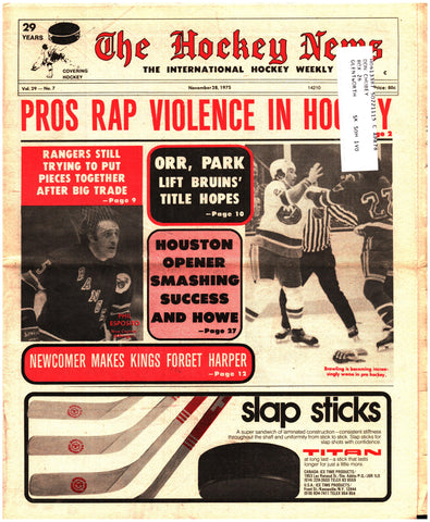 November 28, 1975 The Hockey News Issue Volume 29 No. 7 Phil Esposito New York Rangers Bobby Orr
