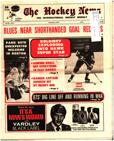 December 5, 1975 The Hockey News Issue Volume 29 No. 8 Phil Esposito Brad Park Ivan Boldirev St. Louis Blues