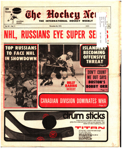 December 26, 1975 The Hockey News Issue Volume 29 No. 11 Bobby Orr WHA Billy Harris Russians