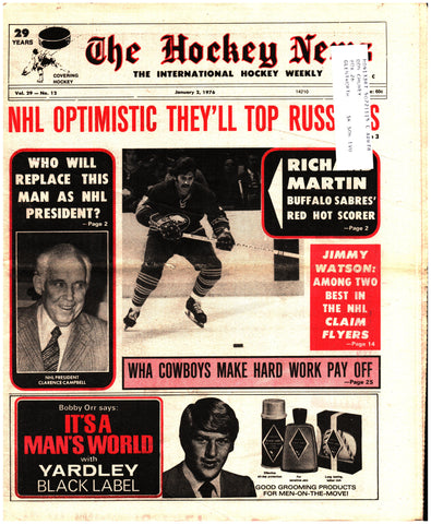 January 2, 1976 The Hockey News Issue Volume 29 No. 12 Calgary Cowboys Jimmy Watson Richard Martin