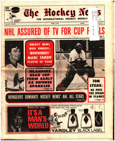 April 2, 1976 The Hockey News Issue Volume 29 No. 25 Tom Lysiak Marc Tardiff Chico Resch WHA AHL