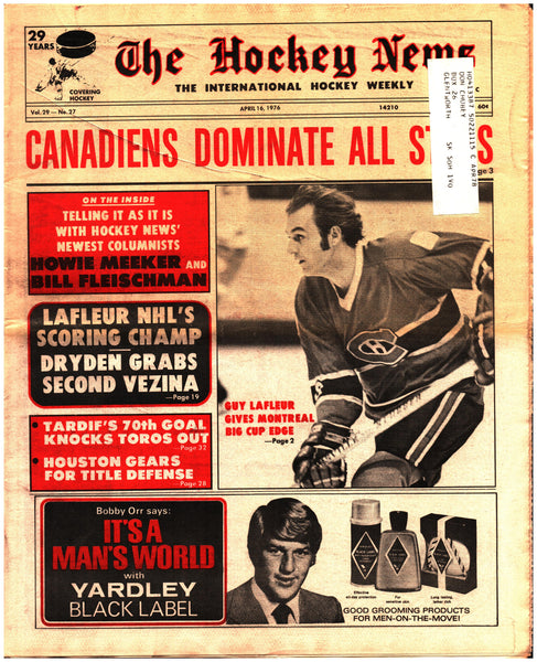 April 16, 1976 The Hockey News Issue Volume 29 No. 27 Guy Lafleur Ken Dryden Marc Tardif