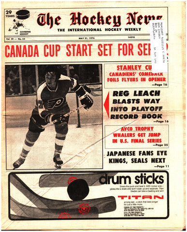 May 21, 1976 The Hockey News Issue Volume 29 No. 32 Reggie Leach Canada Cup Cup Finals