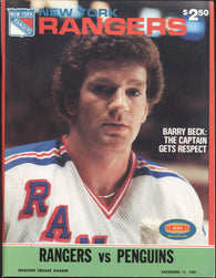 December 14, 1981 Pittsburgh Penguins - 4 @ New York Rangers - 5 Program Barry Beck Randy Carlyle