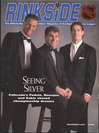 November 2001 NHL Rinkside Hockey Magazine Ray Bourque Joe Sakic Felix Potvin Scott Stevens