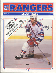 December 23, 1990 Boston Bruins - 5 @ New York Rangers - 5  Program Mike Gartner Cam Neely