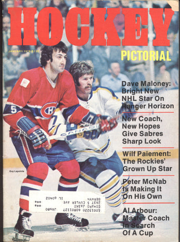 January 1978 Hockey Pictorial NHL Magazine Guy Lapointe Dave Maloney Wilf Paiement Al Arbour