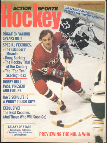 December 1975 Action Sports NHL Hockey Magazine Guy Lafleur Dave Schultz Rogie Vachon