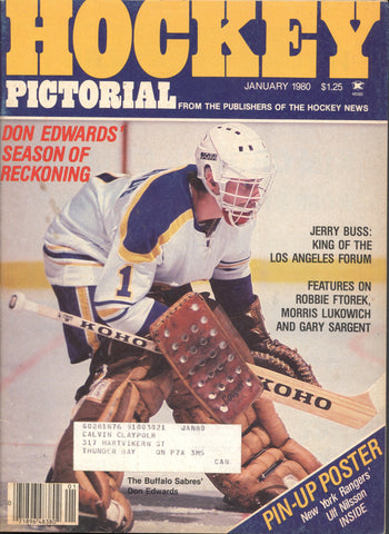 January 1980 NHL Hockey Pictorial Magazine Don Edwards Ulf Nilsson Robbie Ftorek