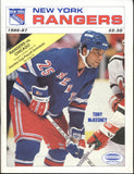 March 22, 1987 Chicago Blackhawks - 3 @ New York Rangers - 5 Program Tony McKegney Denis Savard