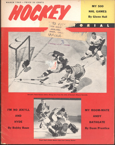 March 1962 NHL Hockey Pictorial Magazine Andy Bathgate Glenn Hall Bruce Gamble Bob Baun