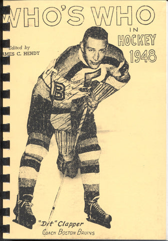 1948 Who's Who in Hockey Reproduction Guide Dit Clapper Boston Bruins