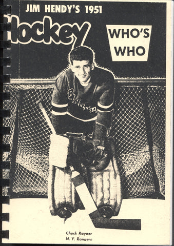 1951 Who's Who in Hockey Reproduction Guide Chuck Rayner New York Rangers