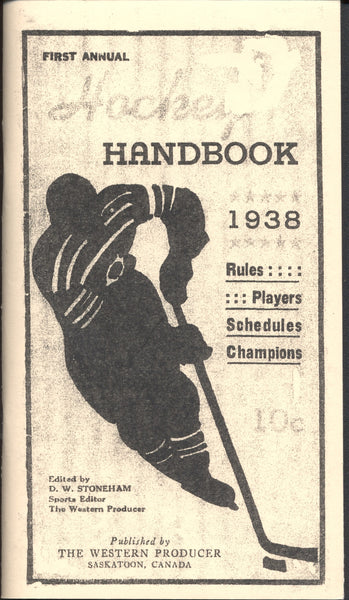 1938 First Annual Hockey Handbook Rules Players Schedules Champions NHL Allan Cup Reproduction