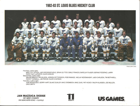 1982-83 St. Louis Blues Team Picture Bernie Federko Guy Lapointe Joe Mullen Barclay Plager