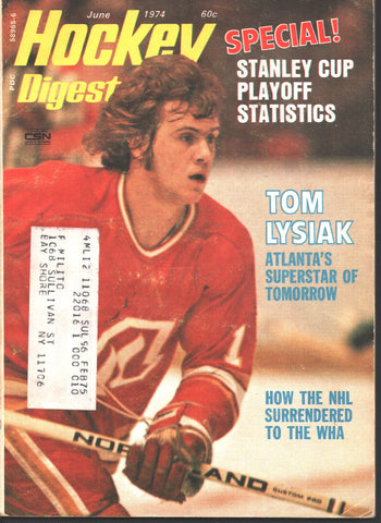 June 1974 Hockey Digest Magazine Tom Lysiak WHA Tim Horton Stan Mikita Atlanta Flames