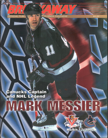 March 17, 1998 Vancouver Canucks - 4 @ Florida Panthers - 2 Mark Messier Kevin Weekes