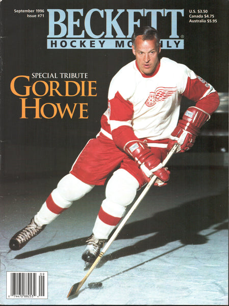 September 1996 Beckett Hockey Monthly Gordie Howe Special Tribute Paul Kariya Joe Sakic