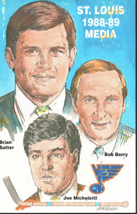 1988-89 St. Louis Blues Media Guide Yearbook Brett Hull  Bernie Federko Greg Millen
