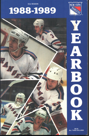 1988-89 New York Rangers Media Guide Yearbook Brian Leetch Marcel Dionne John Vanbiesbrouck
