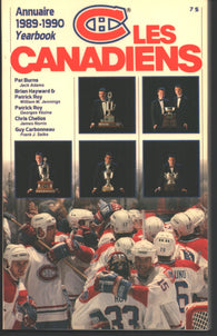 1989-90 Montreal Canadiens Media Guide Yearbook Guy Carbonneau Patrick Roy Chris Chelios
