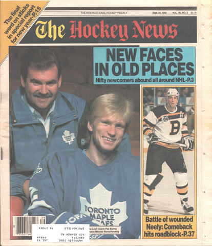 September 25, 1992 The Hockey News Vol. 46 No. 2 Cam Neely Pat Burns Toronto Maple Leafs