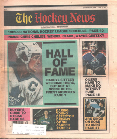 September 29, 1989 The Hockey News Vol. 43 No. 2 Darryl Sittler Wayne Gretzky Grant Fuhr