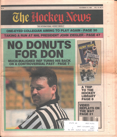 November 10, 1989 The Hockey News Vol. 43 No. 8 John Ziegler Don Koharski Greg Millen