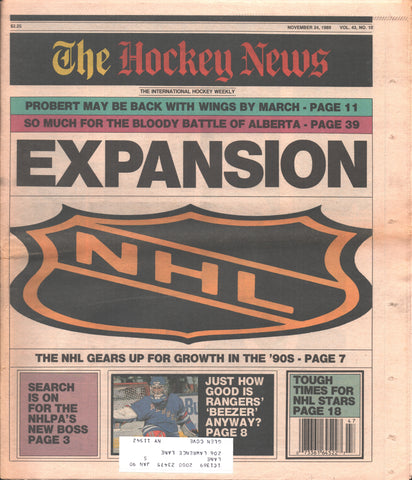 November 24, 1989 The Hockey News Vol. 43 No. 10 John Vanbiesbrouck Expansion Bob Probert