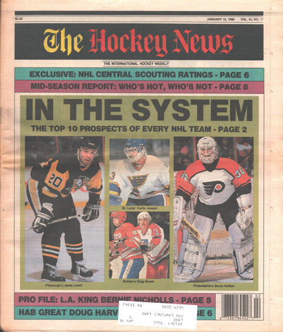January 12, 1990 The Hockey News Vol. 43 No. 17 Curtis Joseph Bernie Nicholls Mid-Season Report