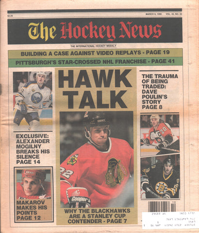 March 9, 1990 The Hockey News Vol. 43 No. 25 Sergei Makarov Alexander Mogilny Dave Poulin
