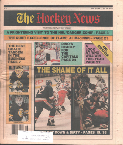 April 20, 1990 The Hockey News Vol. 43 No. 31 Al MacInnis Dino Ciccarelli Rangers-Islanders Brawl