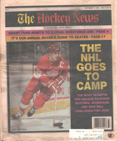 September 14, 1990 The Hockey News Vol. 43 No. 43 Steve Yzerman Grant Fuhr NHL Camps Open