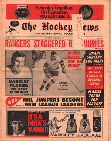 December 22, 1972 The Hockey News Vol 26 No 12 Marcel Dionne Barclay Plager New York Rangers