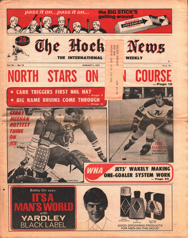 January 5, 1973 The Hockey News Vol 26 No 14 Gerry Meehan Lou Nanne Ernie Wakely