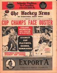 April 20, 1973 The Hockey News Vol 26 No 29 Gilbert Perreault Cesare Maniago NHL Playoffs