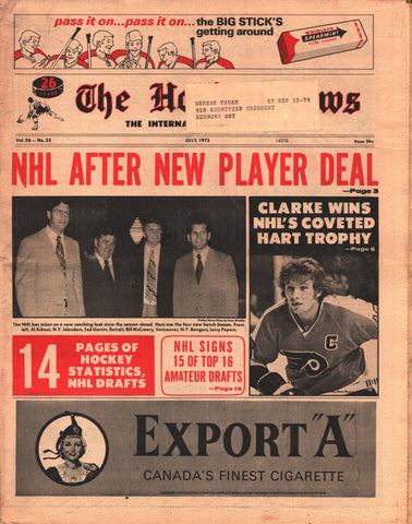 July, 1973 The Hockey News Vol 26 No 35 Bobby Clarke NHL Statistics Amateur Draft
