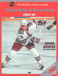 1993-94 NHL Official NHL Hockey Guide Book Adam Graves New York Rangers Teemu Selanne