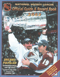 2001-02 NHL Official NHL Hockey Guide Book Raymond Bourque Colorado Avalanche Joe Sakic