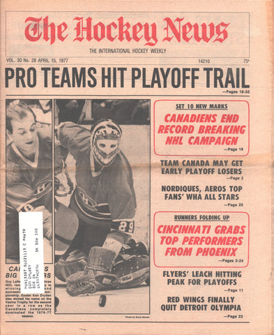 April 15, 1977 The Hockey News Vol 30 No 28 Guy Lafleur Ken Dryden Reggie Leach