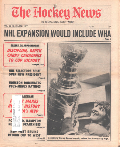 June 1977 The Hockey News Vol 30 No 34 Montreal Candiens Serge Savard NHL/WHA Expansion