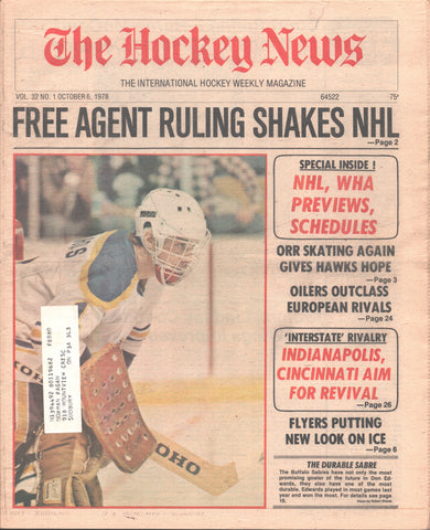 October 6, 1978 The Hockey News Vol 32 No 1 Don Edwards Bobby Orr NHL/WHA Previews