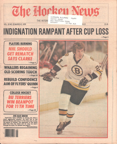 March 2, 1979 The Hockey News Vol 32 No 22 Terry O'Reilly Bobby Clarke New England Whalers