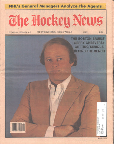 October 10, 1980 The Hockey News Vol 34 No 2 Gerry Cheevers NHL Agents Pete Peeters